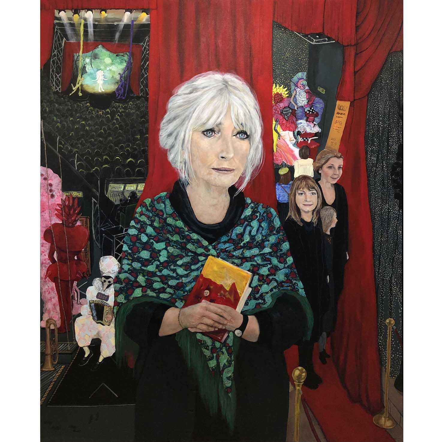 Painted portrait of Dame Suzie Moncrieff DNZM, founder of the World of WearableArt